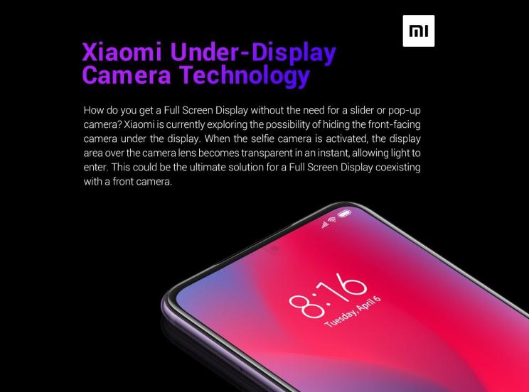 שיאומי מציגה אב טיפוס לסמארטפון עם מצלמה מתחת למסך